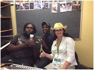 Helen with Junior Bates and Devon from The Desert Boys - Wilururra Creative Session